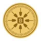 Золотая монетка с знаком bitcoin Деньги и символ Cryptocurrency финансов Иллюстрация вектора изолированная на белой предпосылке Иллюстрация вектора