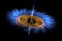 Золотая монетка bitcoin летает в космос Новые технологии, новые значения стоковые изображения rf