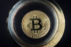 Золотая монетка Bitcoin Cryptocurrency в стекле воды стоковое изображение