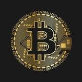 Золотая монетка bitcoin, vector символ секретной валюты золотой Стоковое Изображение RF