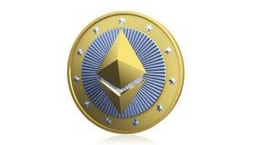 Золотая монетка Ethereum Cryptocurrency Стоковые Изображения RF