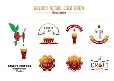 Золотая нитро холодная иллюстрация brew иллюстрация вектора