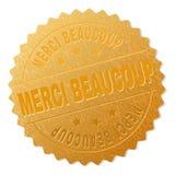 Золотая печать награды MERCI BEAUCOUP иллюстрация штока