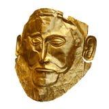 Золотая похоронная маска Agamemnon изолировала на белизне стоковое фото rf