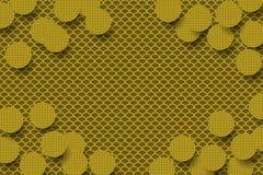 Золотая предпосылка с круглыми украшенными формами стоковое изображение rf