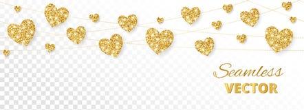 Золотая рамка сердец, безшовная граница Яркий блеск вектора на белой предпосылке Стоковая Фотография RF