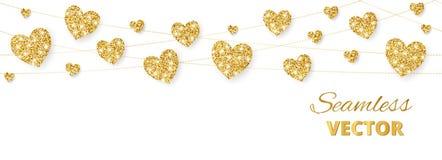 Золотая рамка сердец, безшовная граница Яркий блеск вектора изолированный на белизне Для украшения дня валентинки и матерей Стоковое Изображение