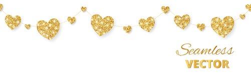 Золотая рамка сердец, безшовная граница Яркий блеск вектора изолированный на белизне Для украшения дня валентинки и матерей Стоковые Изображения RF