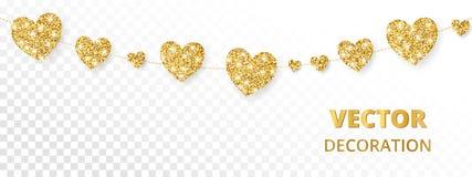 Золотая рамка сердец, безшовная граница Яркий блеск вектора изолированный на белой предпосылке Стоковые Фото