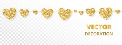 Золотая рамка сердец, безшовная граница Яркий блеск вектора изолированный на белой предпосылке Стоковое Фото