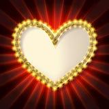 Золотая рамка сердца яркого блеска Стоковая Фотография RF