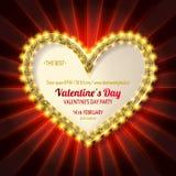 Золотая рамка сердца яркого блеска Стоковые Фотографии RF
