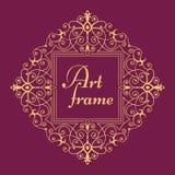 Золотая ретро рамка Элегантный флористический шаблон дизайна логотипа вензеля Иллюстрация вектора Lineart бесплатная иллюстрация