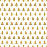 Золотая рождественская елка в ряд друг на белой предпосылке иллюстрация вектора