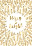 Золотая рождественская открытка веселая и яркая Стоковое Фото