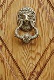 Золотая ручка двери на деревянной двери головной львев Стоковые Изображения RF