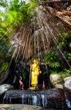 Золотая статуя Будды в саде Стоковая Фотография