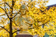 Золотая статуя в падении Стоковые Изображения RF
