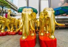 Золотая статуя слонов стоковое изображение