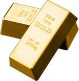 2 золота в слитках изолированного на белой предпосылке Стоковое фото RF