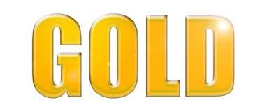 ` ЗОЛОТА ` слова с металлической обработкой иллюстрация штока