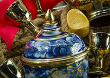 Золота смычка ленты золотого ингота Benjarong подарок красного китайский устанавливает Стоковые Изображения