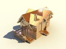 золотистая дом 3d Стоковое Изображение