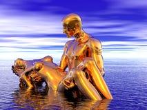 золотистая женщина человека Стоковое Фото