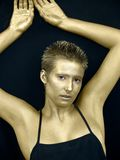 золотистая женщина стоковая фотография rf
