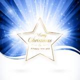 Золотистая звезда рождества иллюстрация вектора
