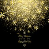 Золотистая предпосылка снежинок рождества Стоковая Фотография RF