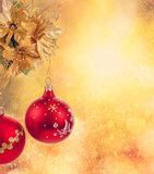 Золотистая предпосылка шариков рождества Стоковые Фото