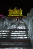 золотистая скульптура дворца льда harbin Стоковое Изображение RF