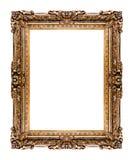 Золотистая старая рамка, изолированная на белизне Стоковая Фотография