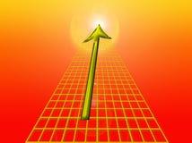 Золотистая стрелка и решетка Стоковое Изображение