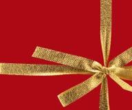 Золотистая тесемка подарка Стоковое фото RF