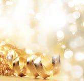 Золотистая тесемка рождества Стоковые Изображения RF