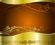 Золотистая флористическая предпосылка Стоковое Изображение