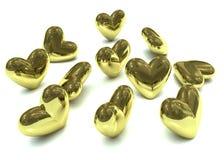 золотистое Валентайн сердец Стоковое Фото