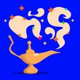 золотистое волшебство светильника басня аравийская сказка Успех мешковина предпосылки коричневая чеканит космоса вкладыша принцип Стоковая Фотография RF