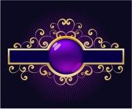 золотистое знамени флористическое Стоковое Изображение RF