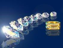 Золотистое кольцо и 8 brilliants Стоковое фото RF