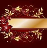 золотистое предпосылки флористическое Стоковая Фотография RF