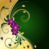 золотистое предпосылки флористическое Стоковое Изображение RF