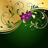 золотистое предпосылки флористическое Стоковое фото RF