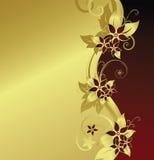 золотистое предпосылки флористическое Стоковые Фотографии RF