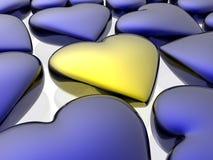 золотистое сердце уникально Стоковая Фотография RF