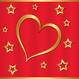 Золотистое сердце Стоковые Изображения