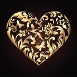Золотистое флористическое богато украшенный сердце иллюстрация вектора