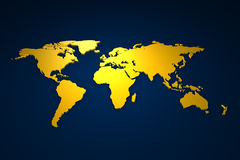 золотистое worldmap Стоковое Изображение RF